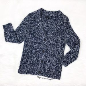 Rag and Bone Marled Blue Knit Button Up Cardigan
